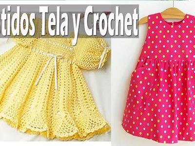 Vestidos de Bebe de Tela y Tejidos a Crochet - Recopilación imagenes