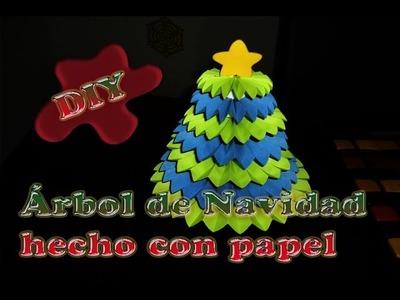 Árbol de navidad Hecho de abanicos de papel y tapas recicladas --DIY