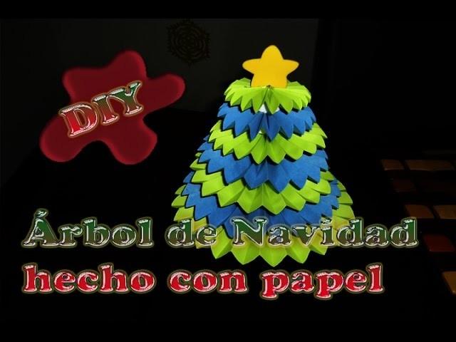 Rbol de navidad hecho de abanicos de papel y tapas - Arbol de navidad hecho en casa ...