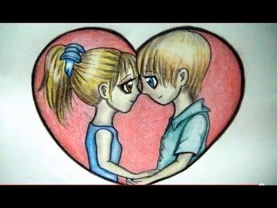 COMO DIBUJAR UNA PAREJA ENAMORADA  (Dibujo FÁCIL de amor)