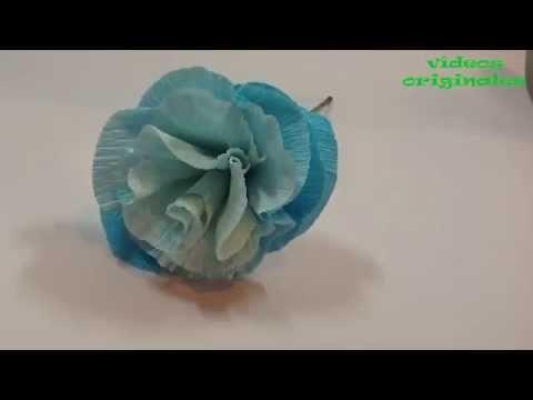 Como hacer una flor de papel crepe.DIY