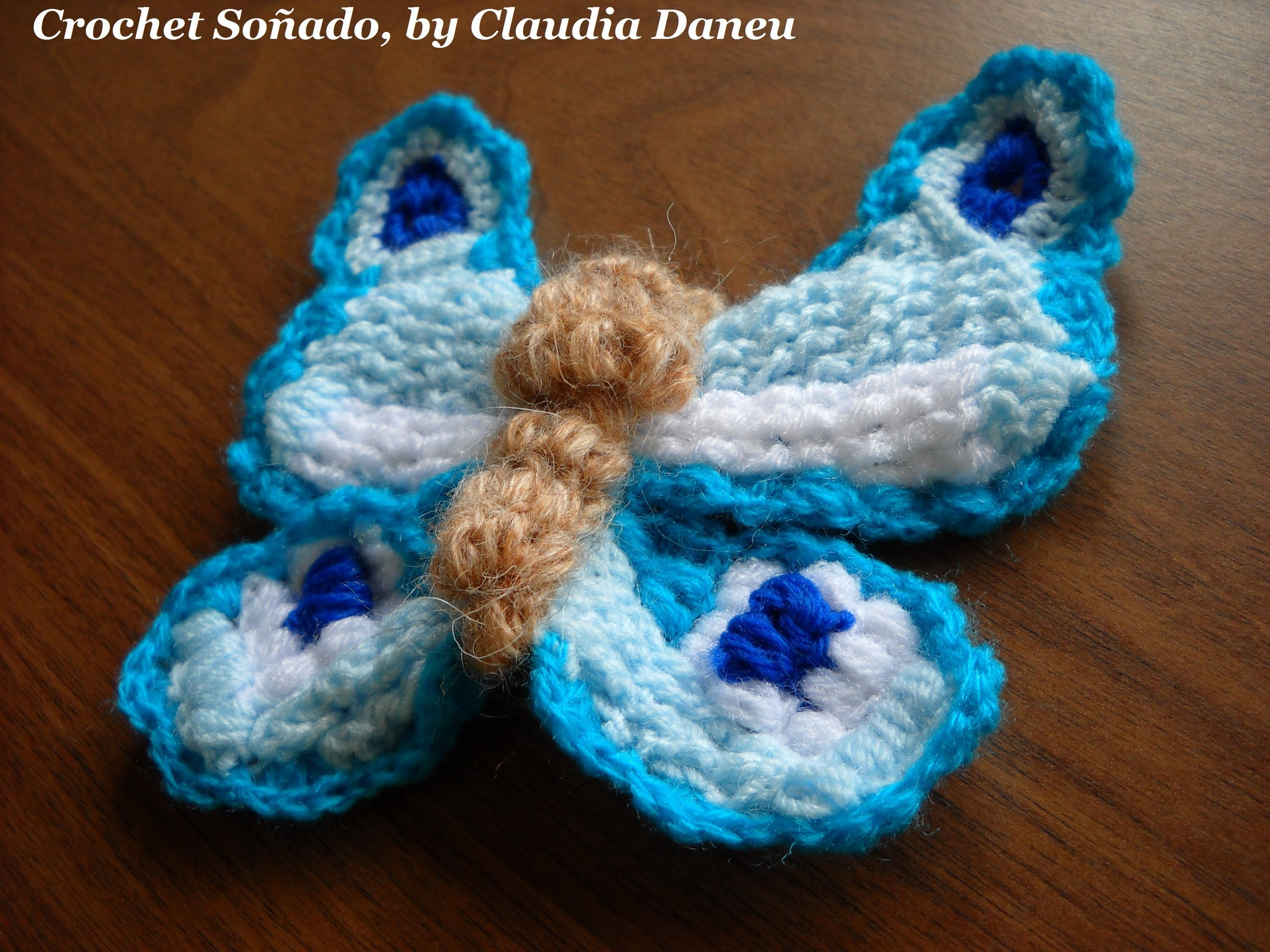 CROCHET ACCESSORIES: BUTTERFLY BROOCH (III). BROCHE MARIPOSA CROCHET (III)