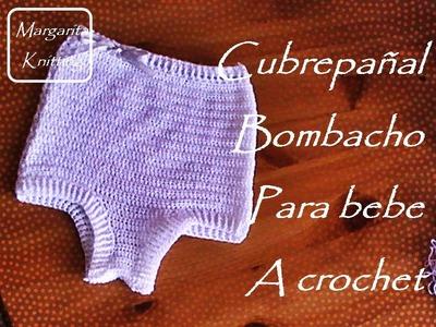 Cubrepañal o bombacho para bebe a crochet (zurdo)
