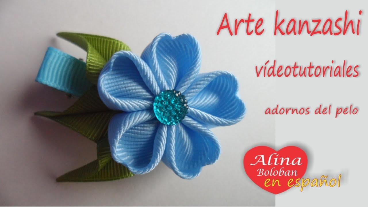 Horquilla azul en estilo Kanzashi . Alina Boloban Kanzashi