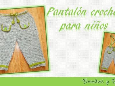 Pantalón con tirantes para bebés tejido a crochet (ganchillo) - Parte 2