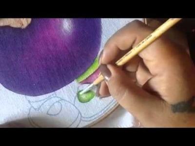 Pintura en tela niña berenjena # 4 con cony