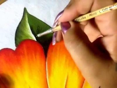 Pintura en tela niña margarita # 5  con cony