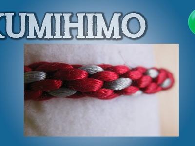 Pulsera redonda 2 colores rojo y gris | Kumihimo