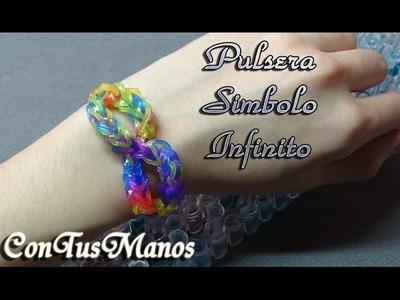 PULSERA SIMBOLO INFINITO.INFINITY DE GOMITAS- CON TELAR -RAINBOW LOOM-(EN ESPAÑOL)