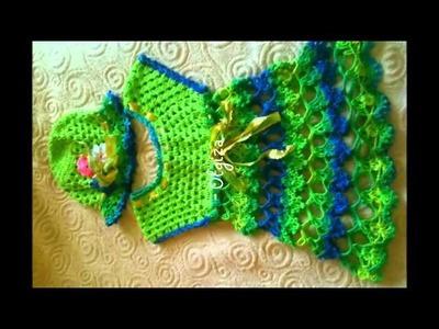 Tiernos vestidos tejidos a crochet para niña de 6 a 12 y 24 meses