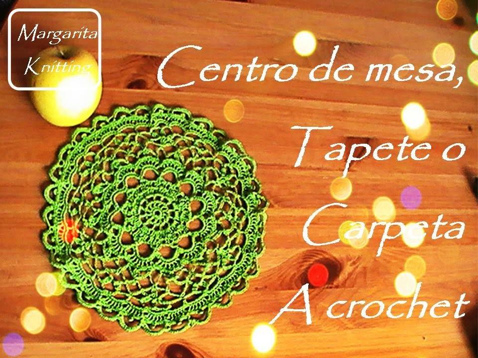 Centro de mesa, tapete o carpeta a crochet (zurdo)