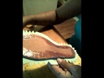 Como forrar las plantillas zapatos a crochet