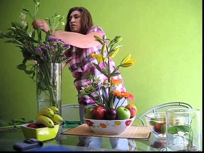 Como hacer un Arreglo floral frutal con base boquilla amplia, variedad de colores