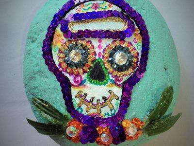 DIY Decora piedra de calaverita Día de Muertos halloween