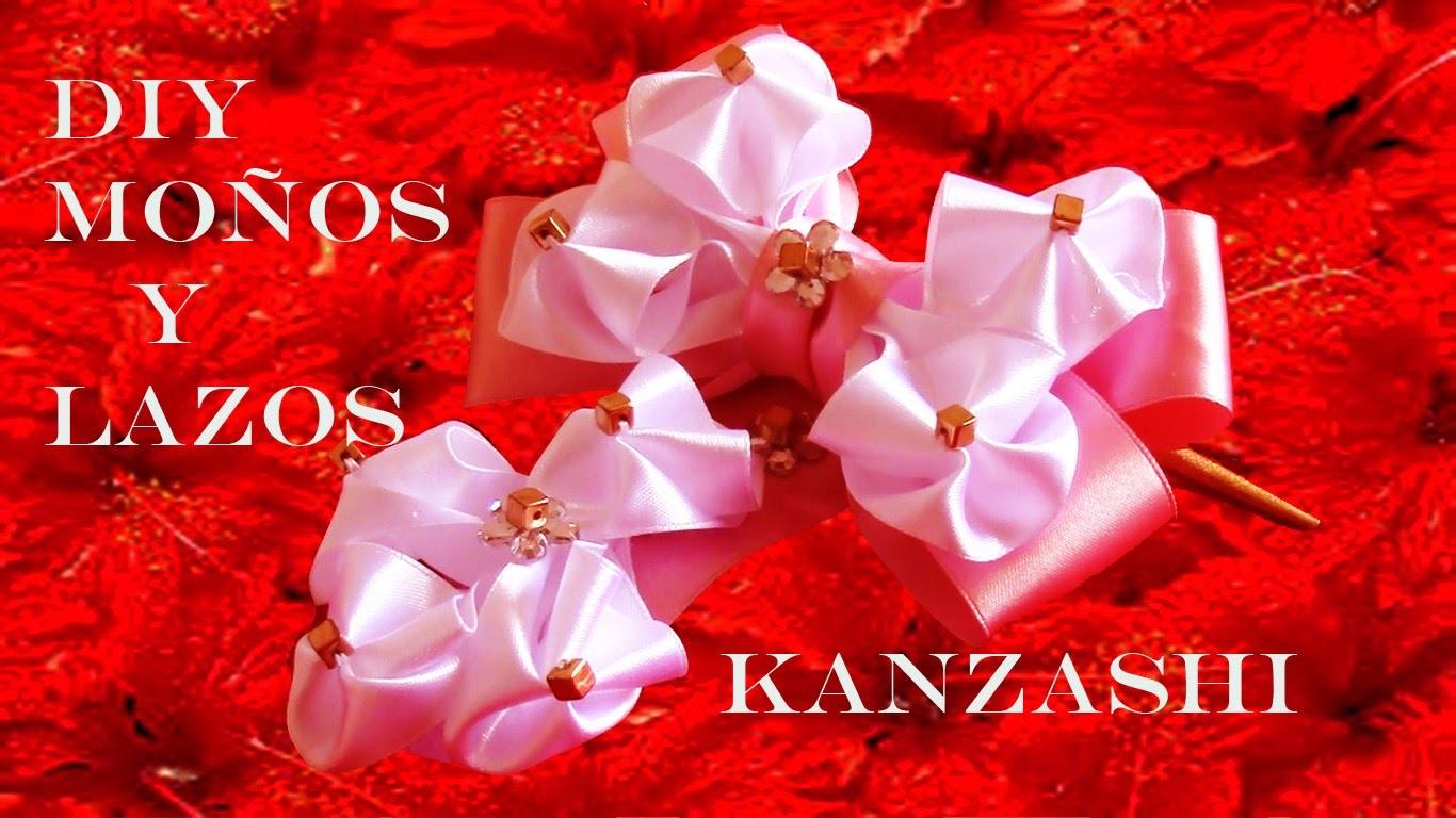 DIY Lazos y moños  Kanzashi en cintas -  bows and flowers in satin ribbons Kanzashi
