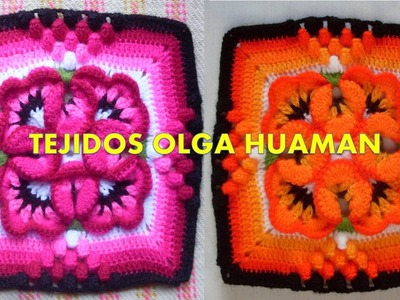 Muestra para colcha tejido a crochet  pensamiento pequeño, video 3
