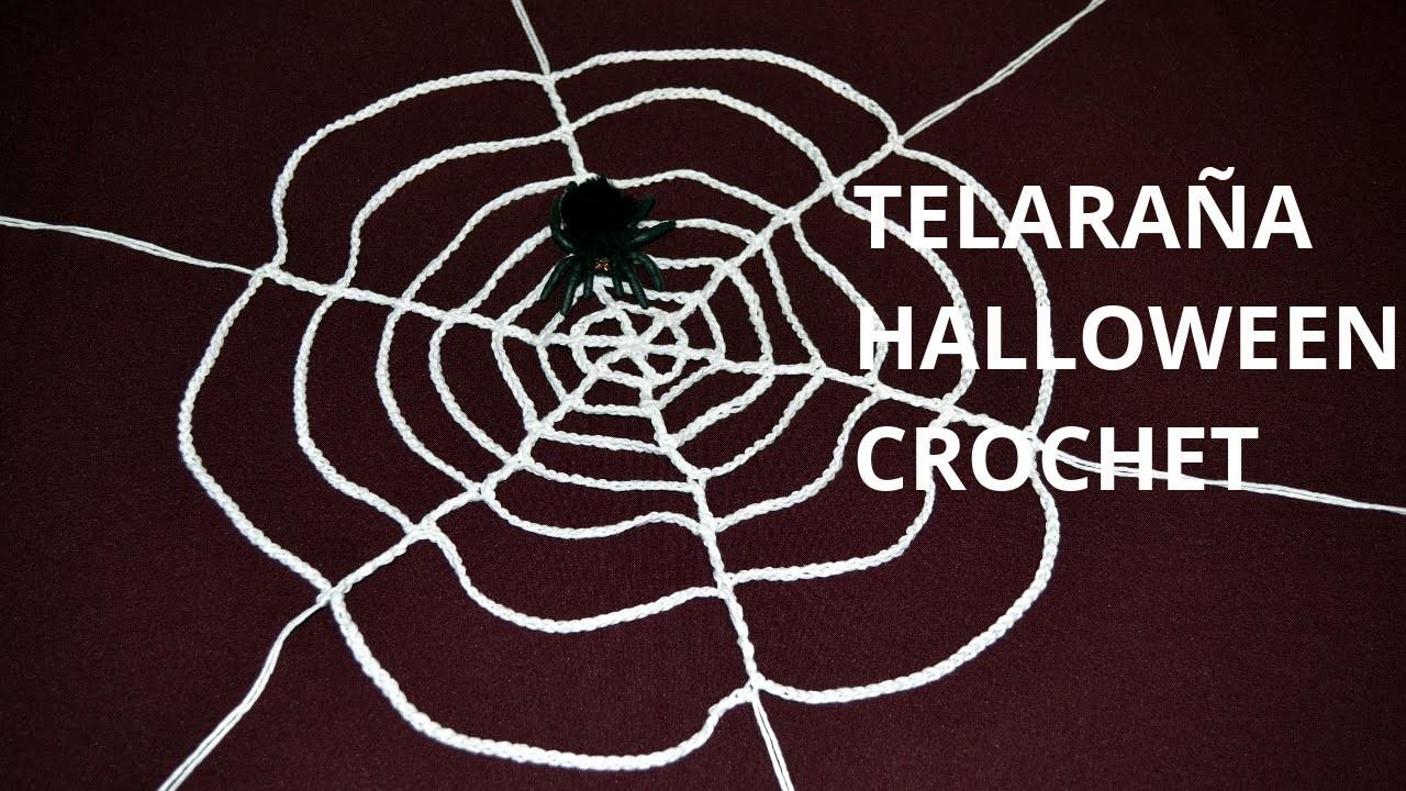 Telaraña Halloween en tejido crochet o ganchillo tutorial paso a paso.
