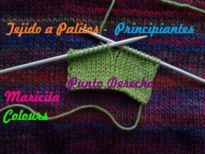 "Aprende a tejer a dos Agujas (Lección 2)  Tutorial Palitos  ""Punto Derecho""  Principiantes"