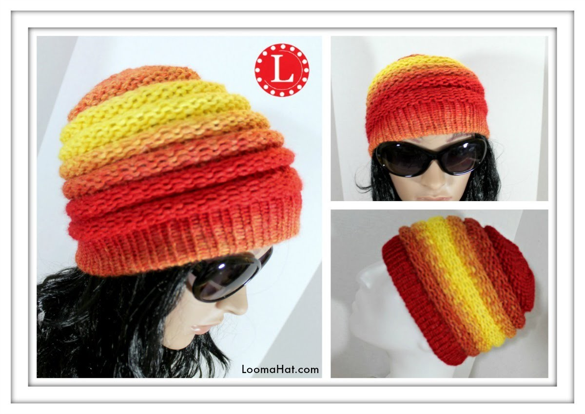 Como Telar un Gorrito Ombre con Telar Redondo Loom Knit Ombre Beanie Pattern in Spanish
