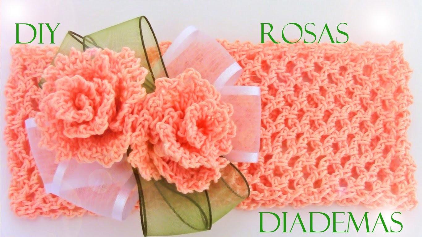 DIY rosas y diademas hermosas - roses and beautiful headbands to crochet