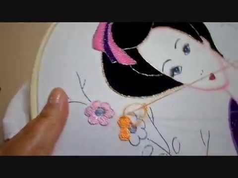 Bordado Fantasía Flores Geisha