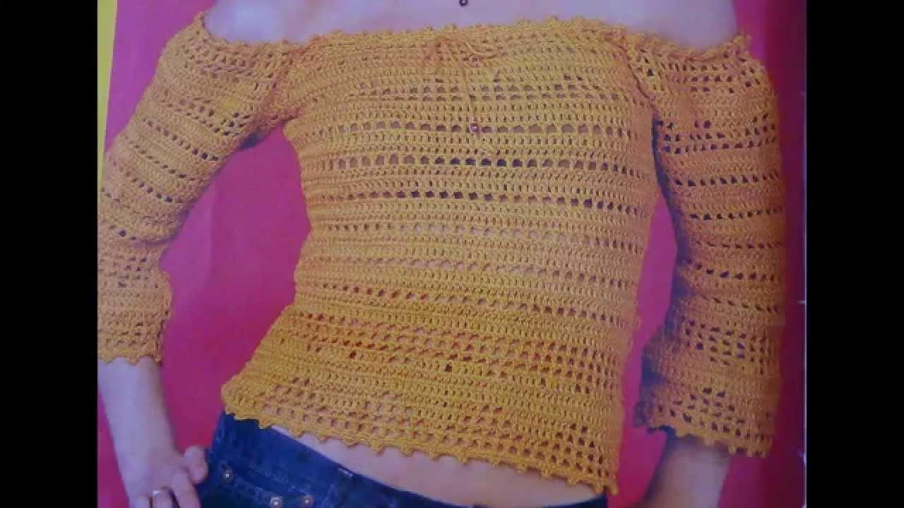 Como tejer blusa sin hombros a crochet