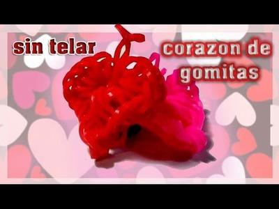 Corazón de gomitas si telar. San Valentín. Rainbow loom. loomigurumi. crochet
