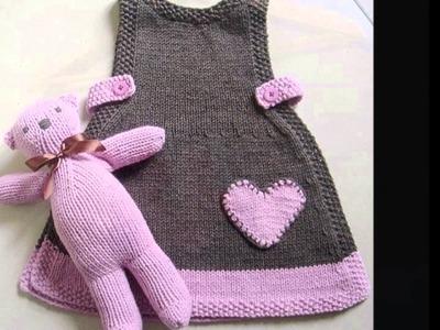 Modelos de vestidos para niñas tejidos a dos agujas
