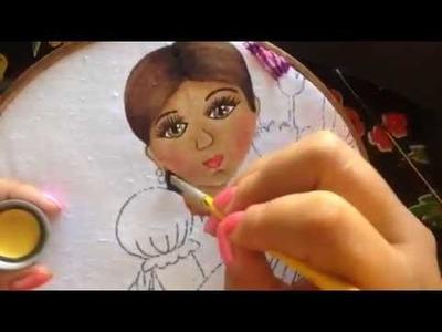 Pintura en tela niña de claveles # 2 con cony