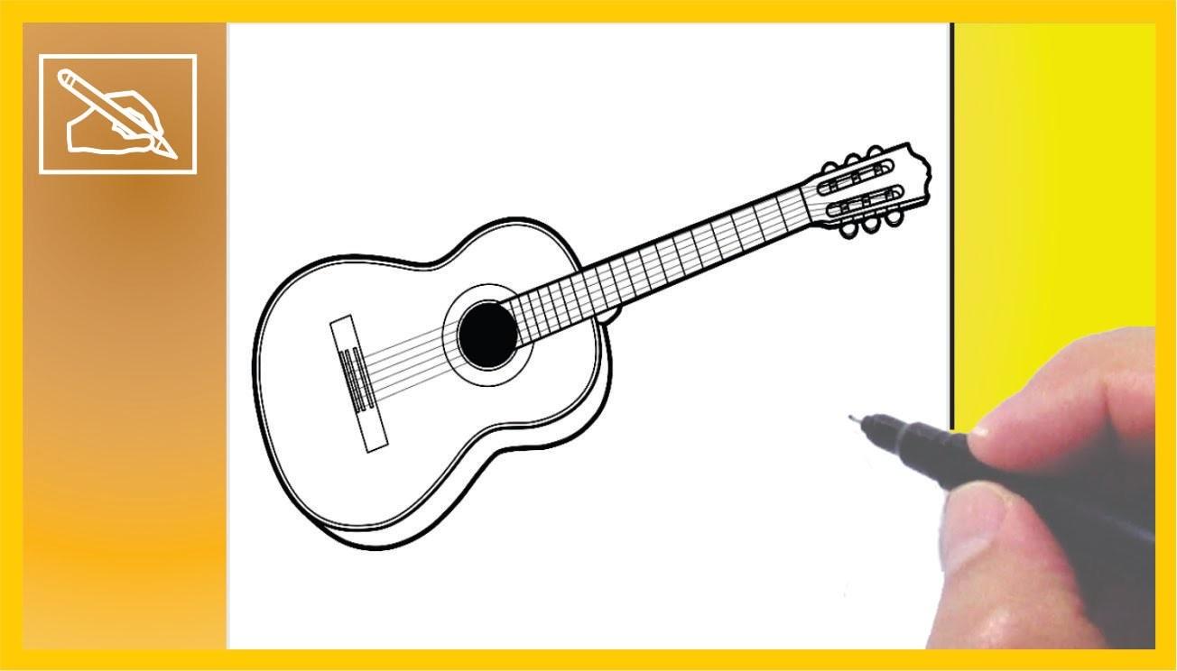 Cómo Dibujar Una Guitarra Acústica - How To Draw a Guitar