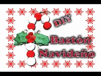 Adorno, Bastón Navideño hecho de foamy (goma eva) | caramelo | DIY Christmas