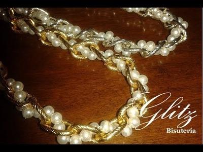 DIY Collar de cadena y perlas,lindo!