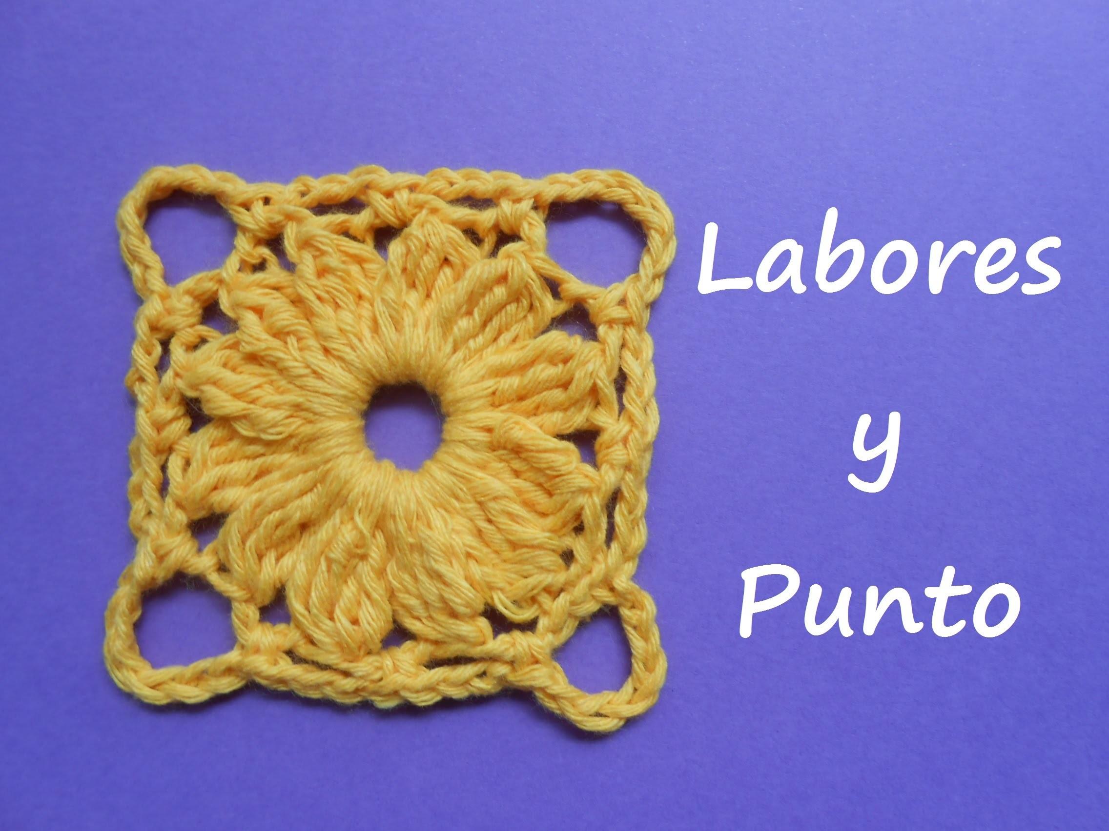 Aprende a tejer este  cuadrado de patchwork 4 a ganchillo o crochet