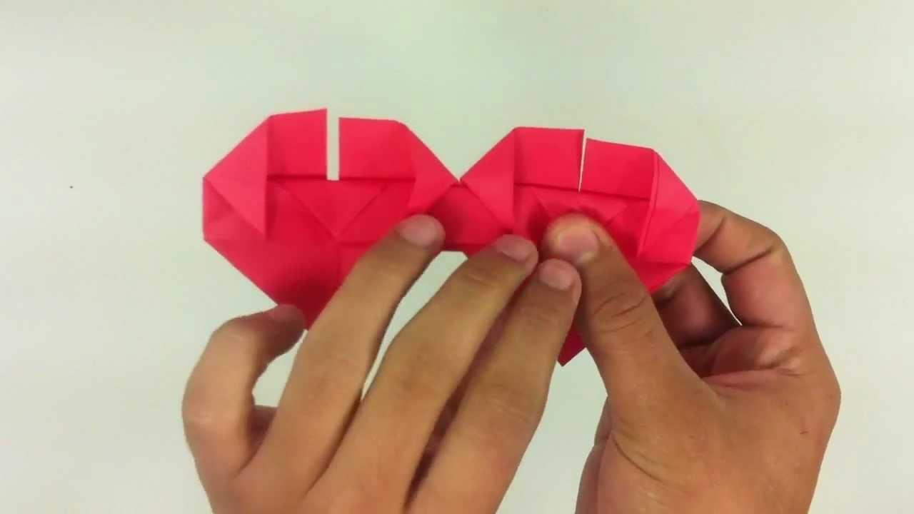 Hacer doble corazón de origami - Ideas para niños