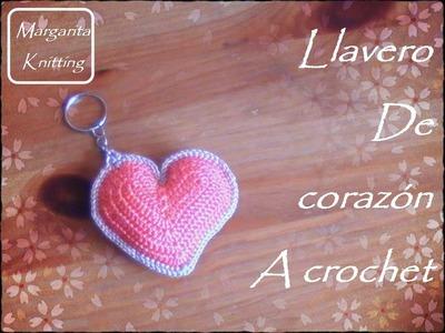 Llaveros a crochet en forma de corazón (diestro)