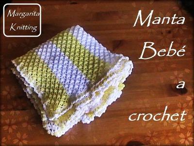 Manta bicolor para bebes  a crochet (zurdo)