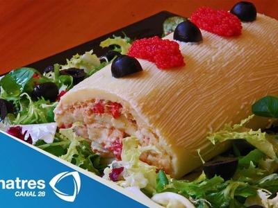 Receta para preparar rollo de atún con queso crema. Receta de rollo. Recetas fáciles y rápidas