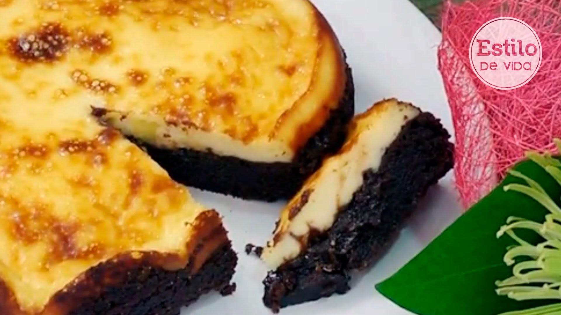 Tarta de queso y chocolate | Postre fácil y rápido