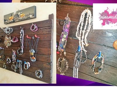 DIY. Organizador reciclado para  pulseras y collares. Muy fácil!