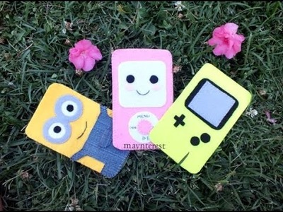 Cómo hacer FUNDAS para MÓVIL con fieltro (Minion, Ipod kawaii, Game Boy)