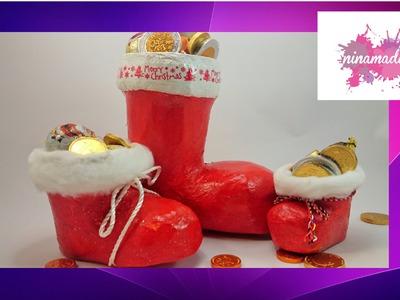 DIY. Bota de Papá Noel en papel maché(cartapesta). Actividad para niños.