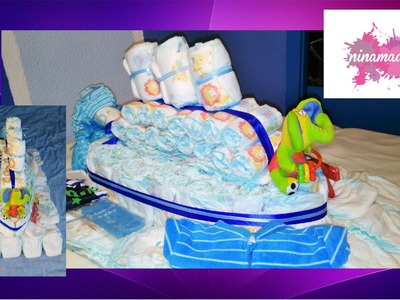 DIY. Como hacer un barco con pañales. Idea regalo para bebé. How to make a boat with diapers.