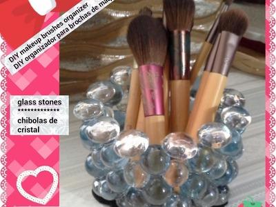 DIY organizador hecho con piedras de cristal.glass stones organizer