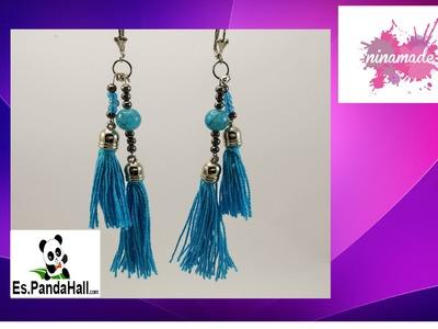 DIY.Tuto11.Pendientes de perlas y pompones turquesa.Es.Pandahall.com.Earrings turquoise PomPoms