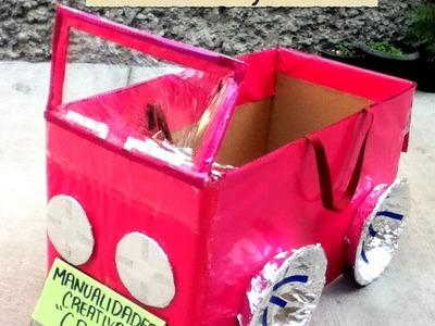 DIY carro de caja de huevo niña reciclando rapido