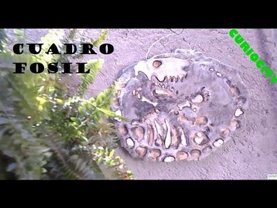 DIY  FOSIL CUADRO DECORATIVO TEXTURIZADO MUY FACIL. MAKE A EASY FOSSIL