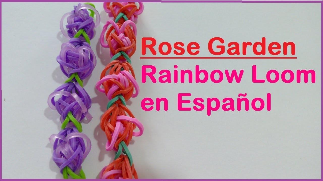 DIY Pulsera de gomitas Jardín de Rosas Rose Garden - Rainbow Loom en Español