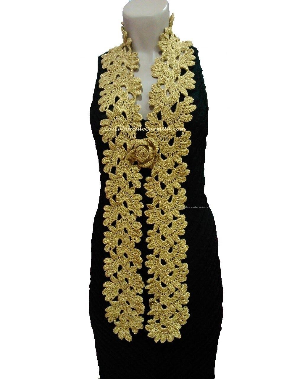Bufanda Flores Crochet ganchillo