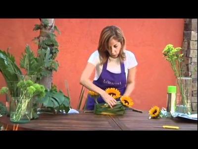 Como hacer un centro de mesa floral LA VIOLETERA Florería  y escuela de diseño floral