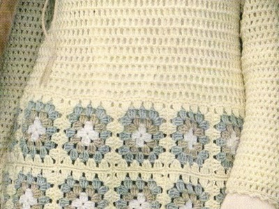 Como Tejer Vestido a crochet con cuadros y punto alto